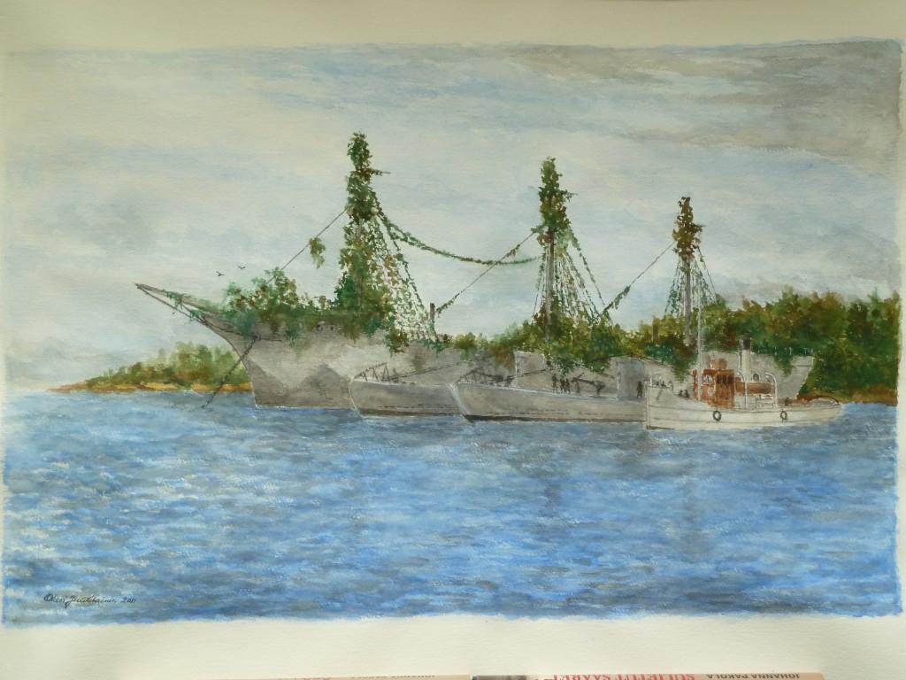 SUOMEN JOUTSEN SODASSA -kirjan kansikuvana olevan akvarellin on maalannut uusikaupunkilainen merimaalari Olavi Juutilainen.