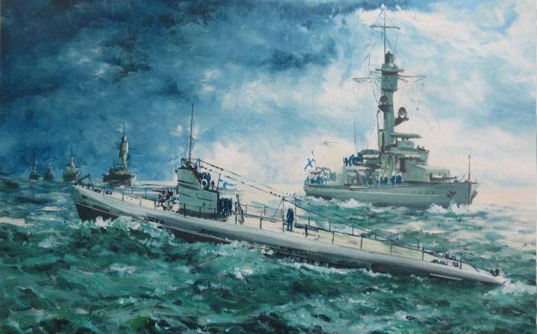 Laivastonäytös v. 1938. Maalaus valokuvasta Veikko Järvinen
