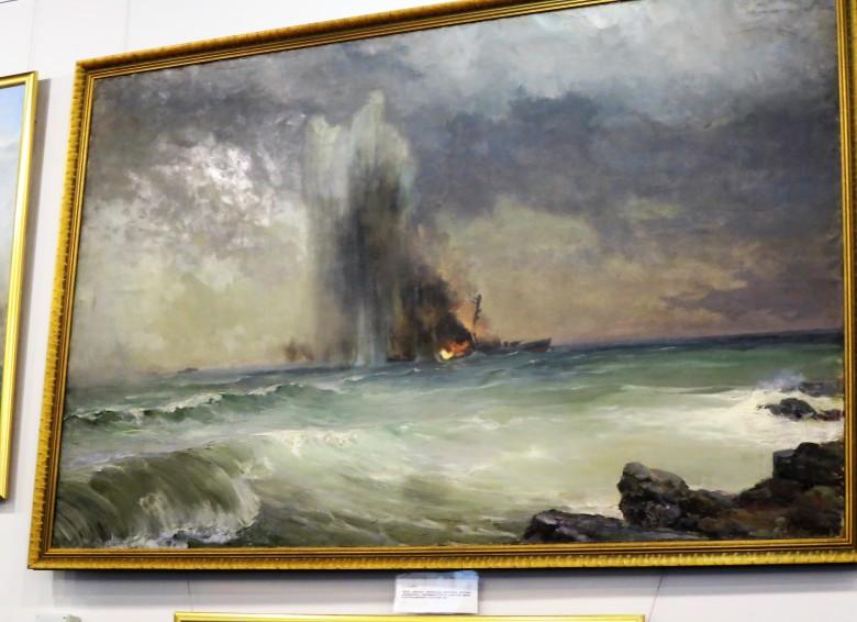 Venäläisen taiteilijan käsitys psl Ilmarisen ajosta miinaan - miina oli neuvostolaivaston laskema.