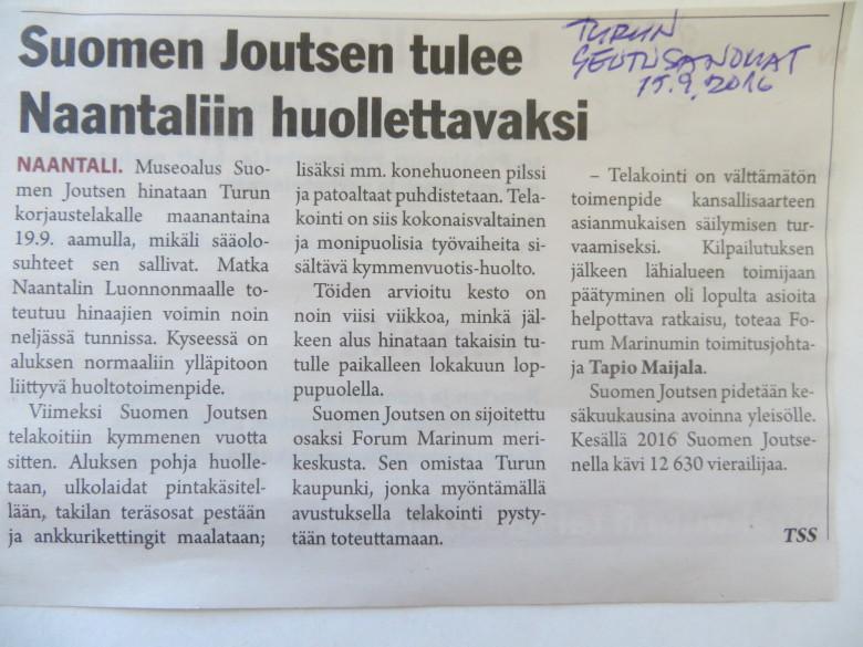 Uutinen Suomen Joutsenen siirrosta.